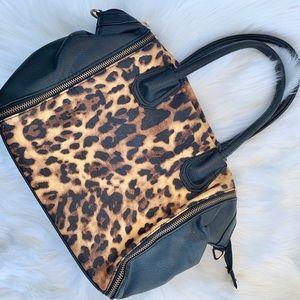 Black leopard tote handbag purse